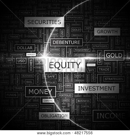 EQUITY. Background concept wordcloud illustration. Print concept word cloud. Graphic collage with related tags and terms. Vector illustration.