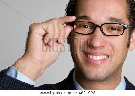 Handsome Businessman Wearing Glasses
