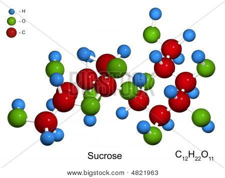 The Isolated 3D Model Of Sucrose (sugar)