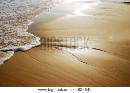 Wave Coming Onto A Sunlit Beach