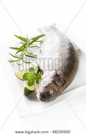 Delicious trout with herbs prepared for cooking. Culinary seafood cooking. poster