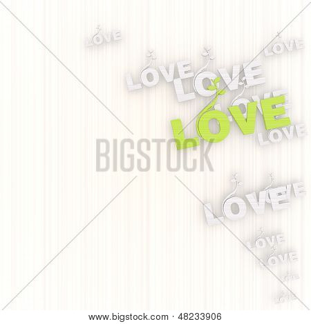 3D Render Of A Creative Love Background With Pictogram