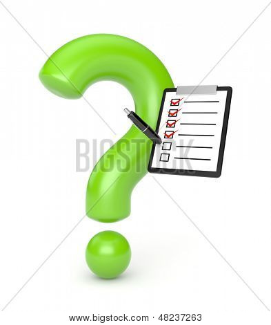 Question sign with clipboard and pen