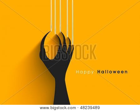 Halloween concept with scratching marks on yellow wall from zombie nails.