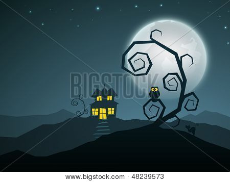 Scary Halloween nights with haunted house and dead tree.