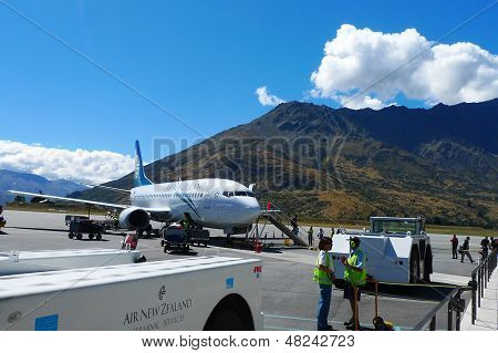 Air New Zealand plane landed in Queenstown, New Zealand