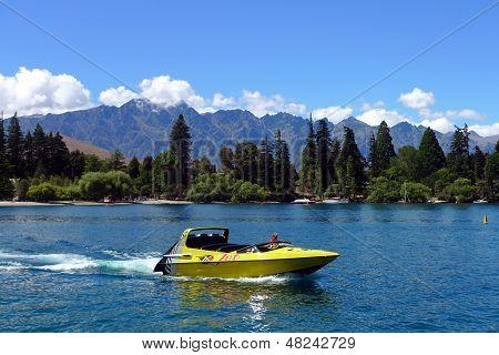 High speed jet boat on the Lake Wakatipu