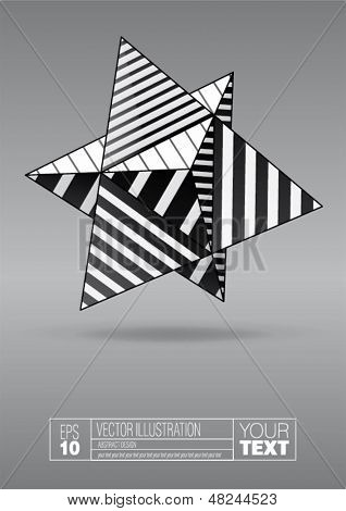 dual tetrahedron with black and white striped faces for poster design