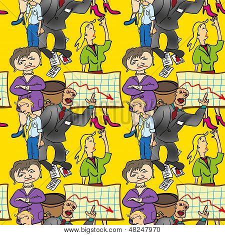 Seamless Pattern Of Comedic Business