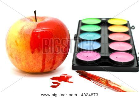 Apple, Paints And Brush