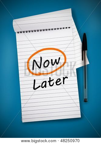 Word now circled in orange on a notepad poster