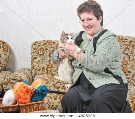 Woman Hold In Hand Cat