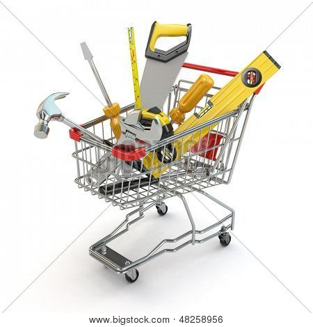 E-commerce. Tools and shopping cart on white isolated background. 3d