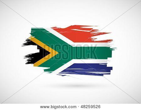South Africa Ink Brush Flag Illustration Design