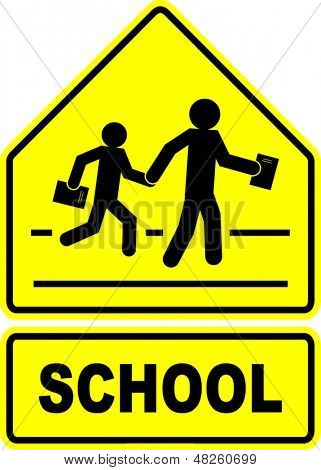 school students crossing sign