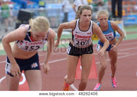 DONETSK, UKRAINE - JULY 11: Bridget O'Neill of Canada (center) and other girls start in 800 m during 8th IAAF World Youth Championships in Donetsk, Ukraine on July 11, 2013