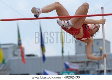 DONETSK, UKRAINE - JULY 11: Zoe McKinley of USA competes in Pole Vault during 8th IAAF World Youth Championships in Donetsk, Ukraine on July 11, 2013