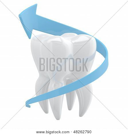 Tooth Protection Concept. 3D Object Isolated On White Background