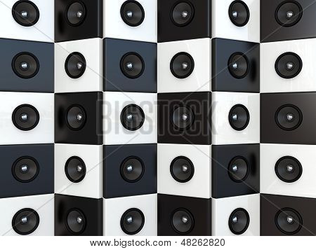 Sound speakers. 3D background blavk and white. Music concept