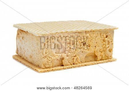 typical spanish helado al corte or corte de helado, ice cream sandwich with wafers, on a white background