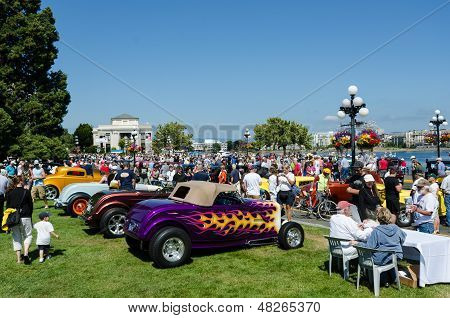 Close-up of colorful classic cars on display