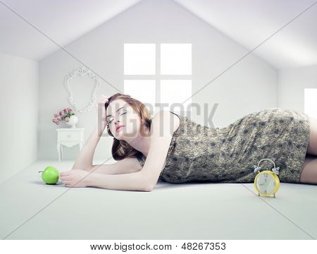 beautiful woman in the white toy house (photo compilation concept )