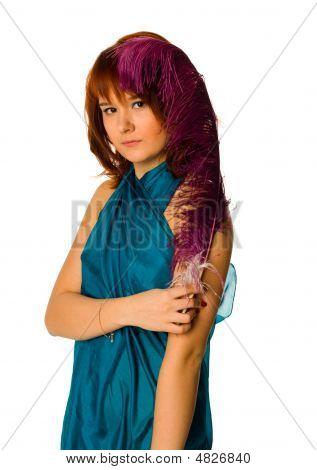 Portrait Of The Beautiful Redhead Woman