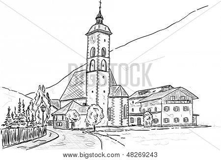 vector -  Church of Grokirchheim, Filialkirche St Andreas, Austria, Europe