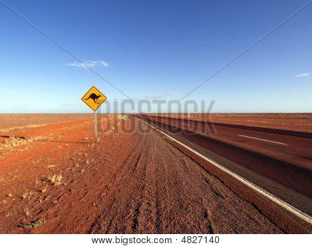 Kangaroo Sign Along An Australian Highway