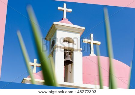 Pink domes and golden crosses on Greek Orthodox Church of the Seven Apostles in Capernaum poster