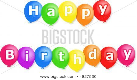 Colourful party balloons with the words HAPPY BIRTHDAY written on them. poster
