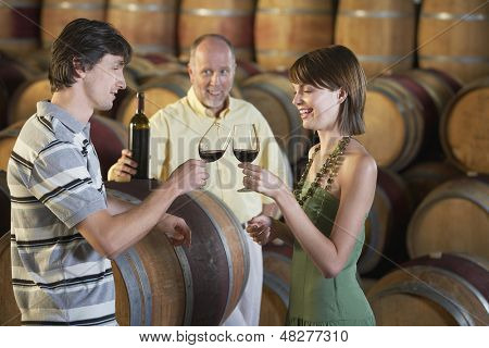 Side view of young couple toasting red wine with merchant in background