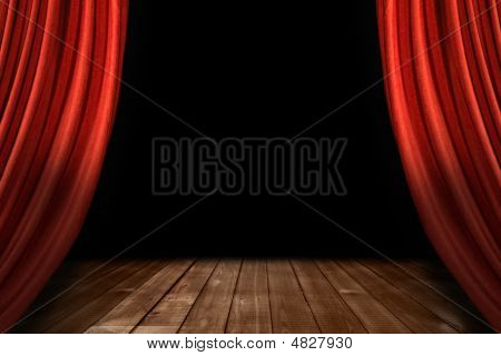 Red Theater Stage Drapes With Wooden Floor