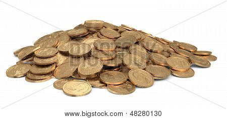 Golden Dollars Coins Isolated On White