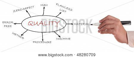 Quality concept flowchart focus on quality related words. poster