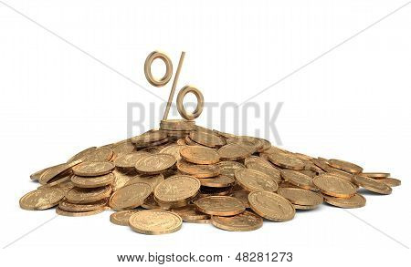 Heap Of Coins With Sign Of Percents