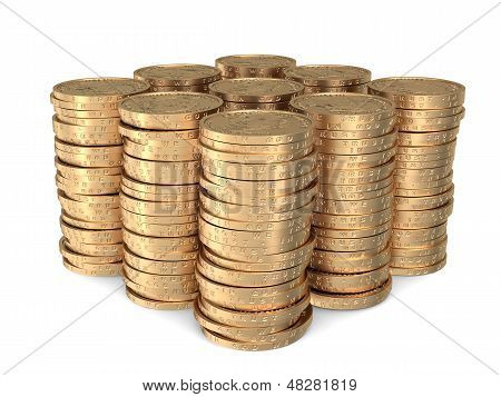 Nine Identical Stacks Of Dollar Coins