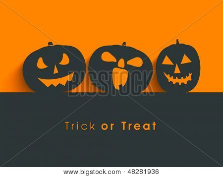 Poster, banner or background for Trick or Treat Halloween Party with scary pumpkins.