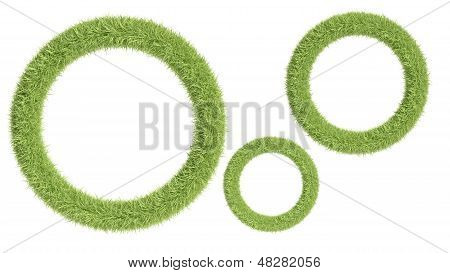 Round Frame From Grass Isolatedon White Background