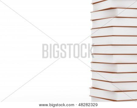 Stack Of Brown Books On White