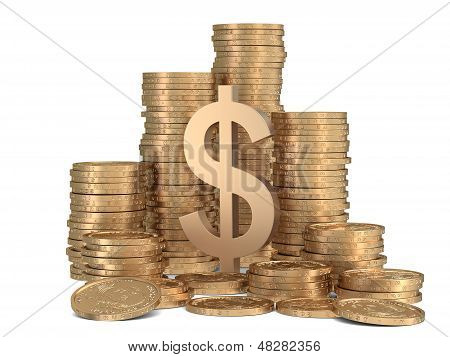 Stack Of Golden Coins With Sign Of Dollar