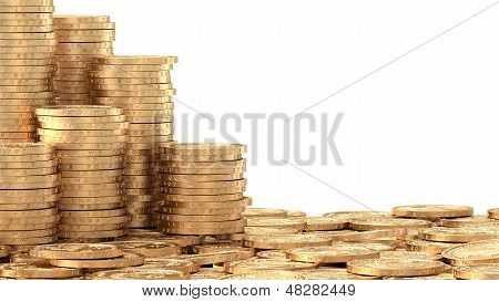 Stacks Of Coins Over Layer Of Coins