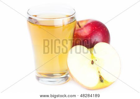 Apples And Glass Of Apple Juice Isolated On White