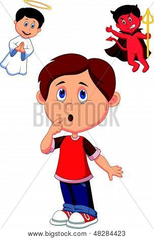 Cartoon boy confuse on choice between good and evil
