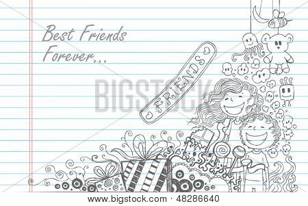 illustration of Friendship Day doodle in sketchy look