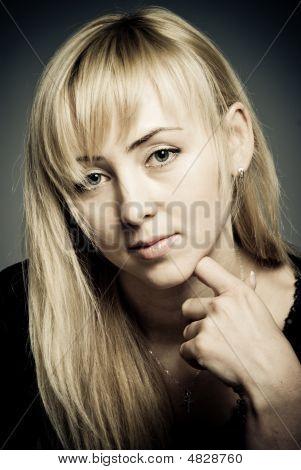 Closeup Studio Portrait Of Beautiful Woman