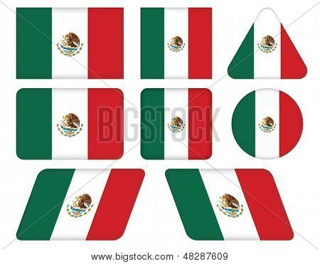 Buttons With Flag Of Mexico