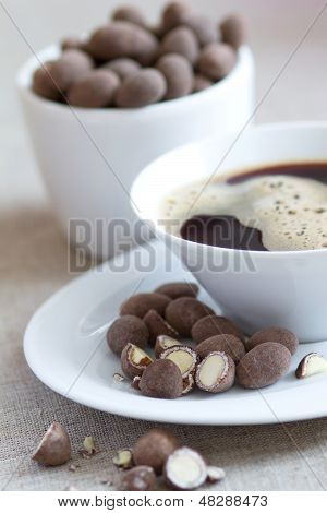 Breakfast With Coffee And Chocolate Covered Almonds
