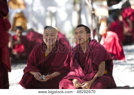 LHASA, TIBET- OCT 07: Tibetan monks are debating over Buddhist Scriptures at the Sera Monastery on October 07, 2011 in Lhasa, Tibet.