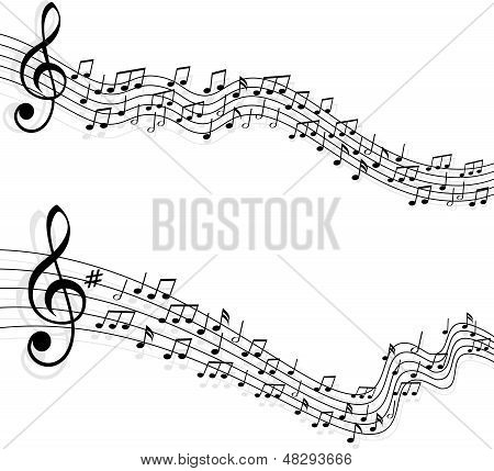 Music Notes Vector Backgrounds. Abstract Composition